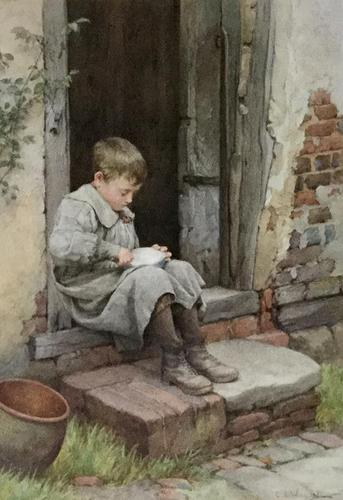 Charles Edward Wilson Watercolour 'eating breakfast on the doorstep' (1 of 2)