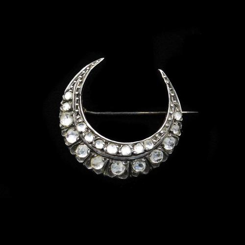 Antique Rose Cut Paste Gold and Silver Crescent Moon Brooch Pin c.1890 (1 of 11)