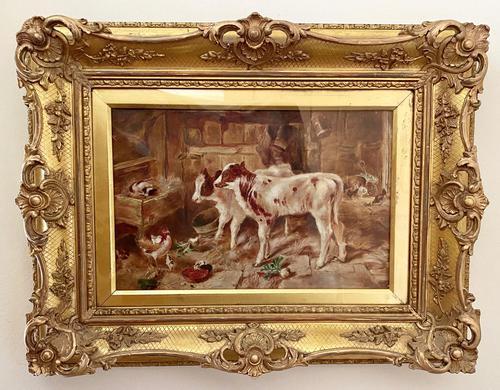 Victorian Oil of a Farmyard Scene C1900 (1 of 6)