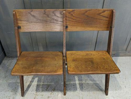 Vintage Oak Collapsible Pew Chairs c.1910 (1 of 5)