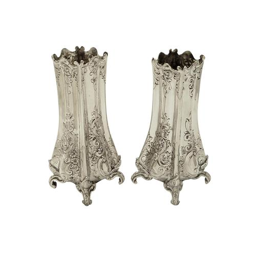 "Pair of Antique Victorian Sterling Silver 5 1/2"" Vases 1895/1896 (1 of 9)"