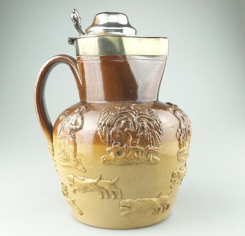 Large & Handsome Stoneware Salt Glaze Sprigged Beer Jug 19th Century (1 of 9)