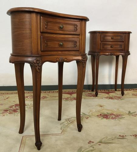 Vintage French Cherrywood Cabinets Kidney Shaped Bedside Tables (1 of 10)