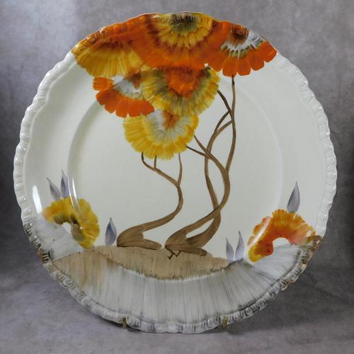 Pair of AJ Wilkinson Ltd, Clarice Cliff, Honeyglaze, Rhodanthe Pattern,  Dinner Plates (1 of 7)