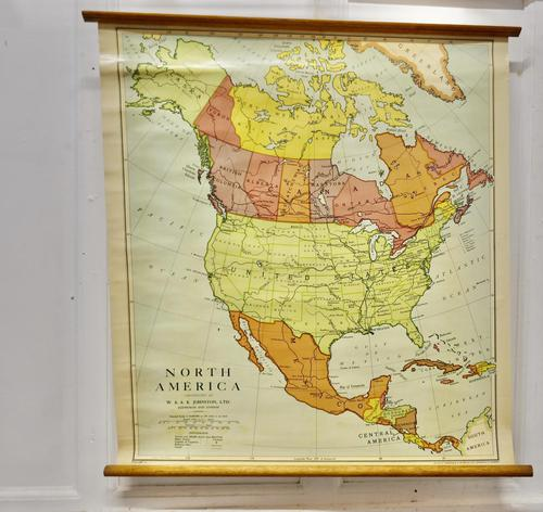 """Large University Chart """"Physical Map of North America"""" by Bacon (1 of 5)"""