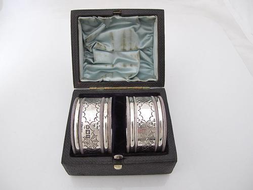 Great quality pair Edwardian silver napkin rings original box Robert Stebbings London 1906 (1 of 6)