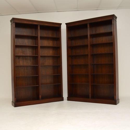 Pair of Large Georgian Style Mahogany Open Bookcases (1 of 11)