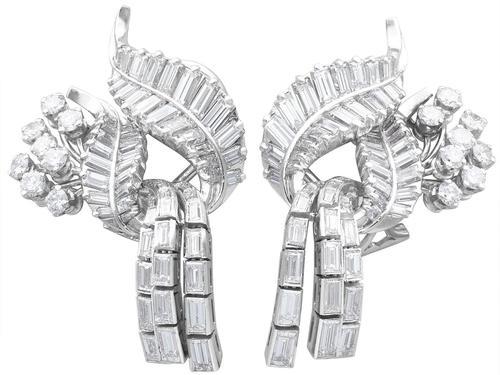 5.90ct Diamond & Platinum Tassel Earrings - Vintage c.1950 (1 of 9)