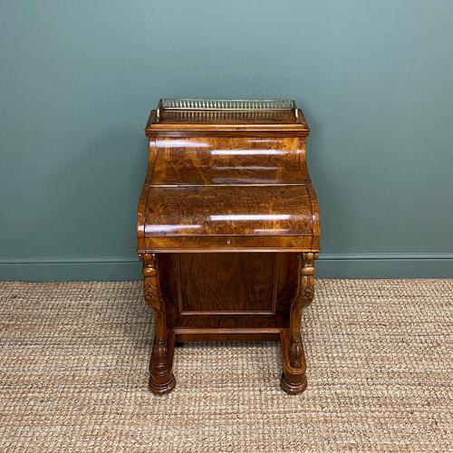 Sensational Victorian Burr Walnut Piano Top Antique Davenport Desk (1 of 10)