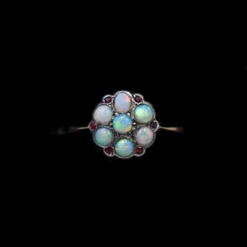 Antique Natural Opal & Red Paste Flower Cluster 9ct 9K Gold Ring (1 of 9)