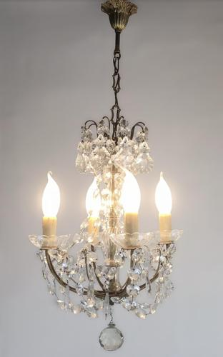 Vintage French Petite Chandelier 4 Arm Crystal Ceiling Light (1 of 6)