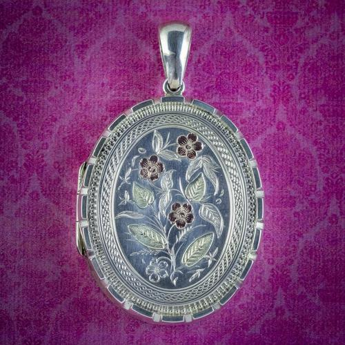 Antique Victorian Forget Me Not Locket Sterling Silver Gold Dated 1883 (1 of 7)