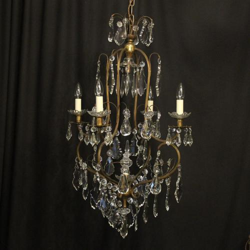 French Gilded Crystal Birdcage 5 Light Antique Chandelier (1 of 10)