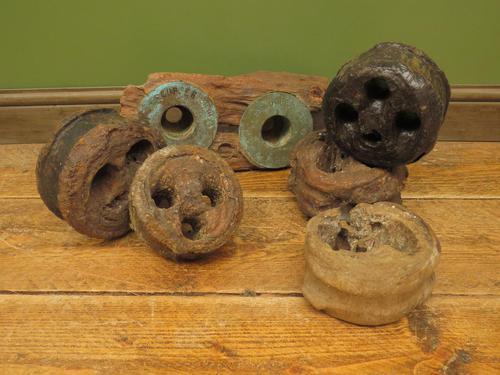 Antique Maritime Ship Deadeye Rigging Blocks & Scupper Ports, Old Wreck Salvage (1 of 13)