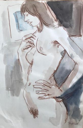 Original Watercolour  'Standing Nude.' by Toby Horne Shepherd (1 of 1)
