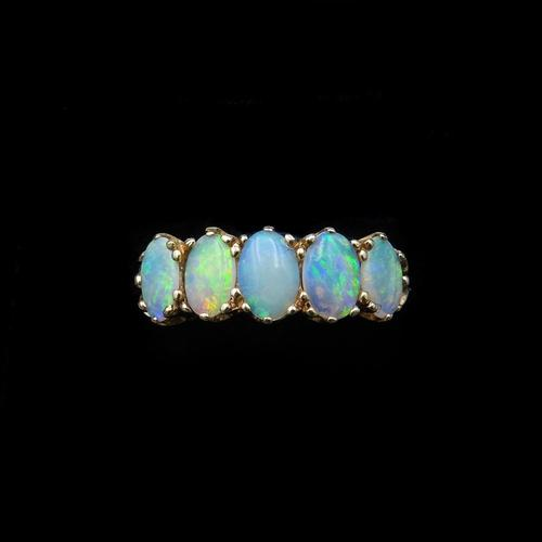 Vintage Opal Five Stone 9ct 9K Yellow Gold Band Ring (1 of 10)