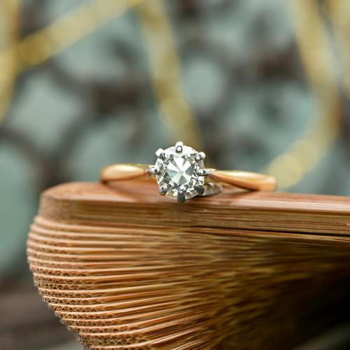 The Antique Old Brilliant Cut Diamond Solitaire Ring (1 of 4)