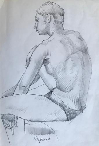 Original pencil drawing 'The artist's model' by Toby Horne Shepherd 1909-1993. Signed. c.1965 (1 of 1)
