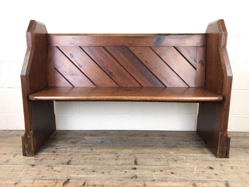 Antique Pitch Pine Church Pew with Enamel Number 35 (1 of 12)
