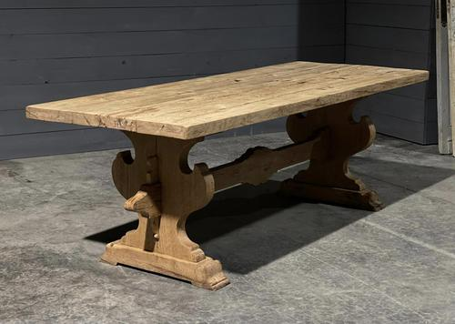 Large Rustic Bleached Oak Farmhouse Refectory Dining Table (1 of 25)