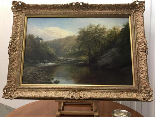 George Henry Jenkins 'A Devon River Landscape' Oil on Canvas Painting (1 of 12)