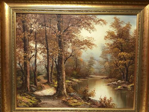 "20th Century Oil Painting Landscape Forest River ""View Through The Trees"" (1 of 20)"