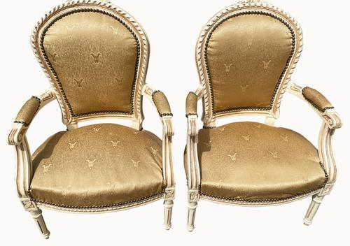 Pair of Painted French Fauteuils (1 of 5)
