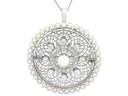 1.38 ct Diamond and Seed Pearl, Platinum Pendant / Brooch - Antique Italian Circa 1900 (1 of 12)