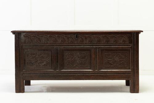 17th Century English Oak Panelled Coffer (1 of 9)