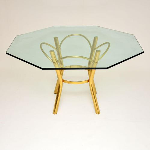 1970's Vintage  Brass & Glass  Dining Table (1 of 6)