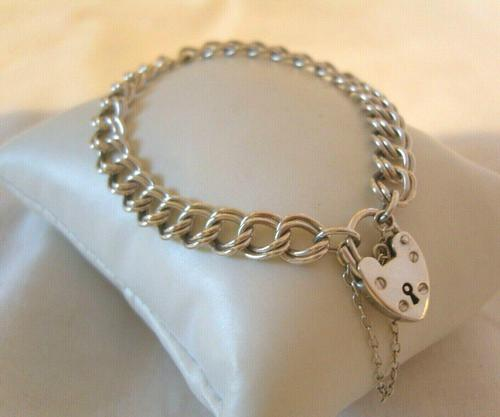 """Vintage Sterling Silver Bracelet 1976 Double Curb With Heart Padlock 7 1/2"""" Length (1 of 11)"""