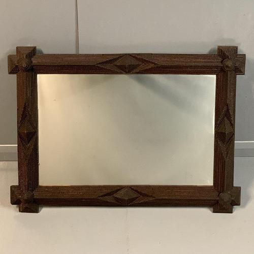 "Large ""tramp art"" mirror with original glass (1 of 6)"