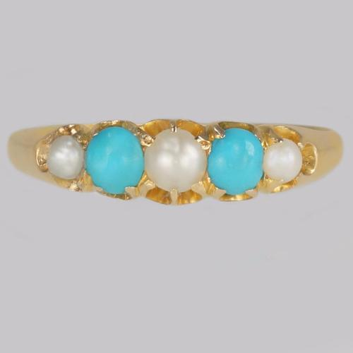 Victorian Turquoise & Natural Pearl Ring 18ct Gold Antique Ring Birmingham 1865 (1 of 11)