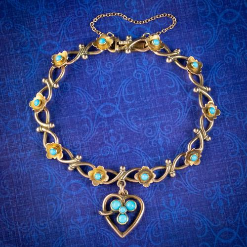 Antique Victorian Turquoise Heart Forget Me Not Bracelet 9ct Gold With Box c 1880 (1 of 9)