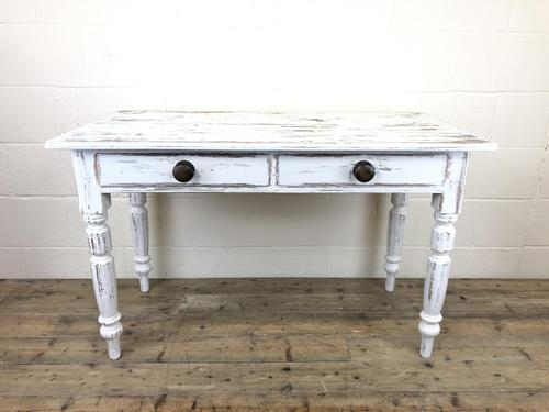 Distressed White Painted Victorian Pine Table (1 of 8)