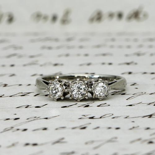 The Antique Old European Cut Three Diamond Ring (1 of 6)