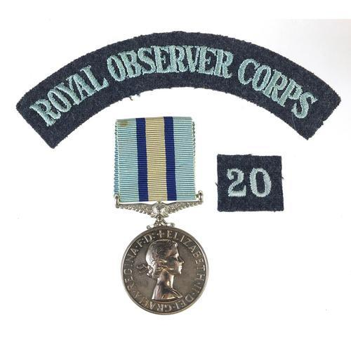 British military Elizabeth II Royal Observer Corps medal with cloth patches awarded to Observer G B H George (1 of 3)
