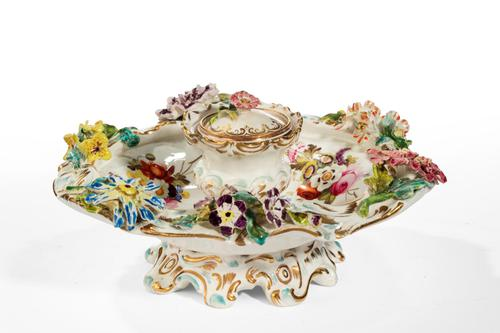 Mid 19th Century Porcelain Flower Encrusted Inkwell (1 of 4)