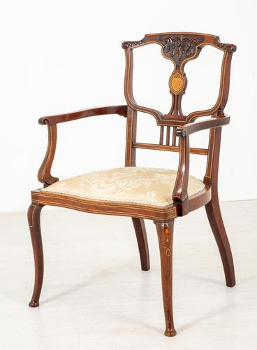 Very Pretty Art Nouveau Mahogany Elbow Chair (1 of 10)