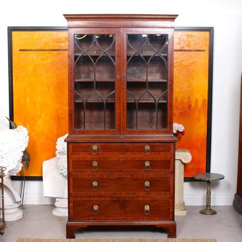 Secretaire Bureau Bookcase Astragal Glazed Mahogany (1 of 17)
