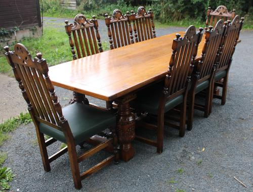 1960s Carved Oak Refectory Table with Set 8 Dining Chairs Green Upholstery (1 of 10)