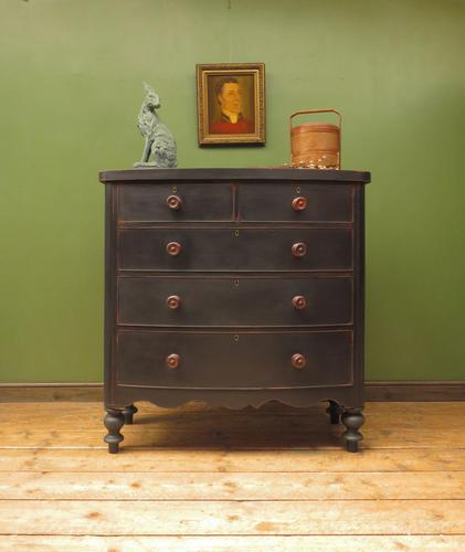 Antique Painted Black Bow Front Chest of Drawers (1 of 16)