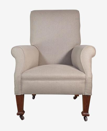 Upholstered Armchair with Wooden Legs (1 of 5)