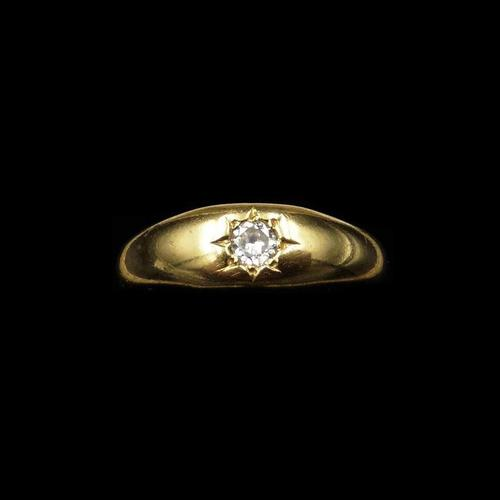 Antique Old Cut Diamond Solitaire Gypsy 18ct Yellow Gold Ring Band (1 of 9)