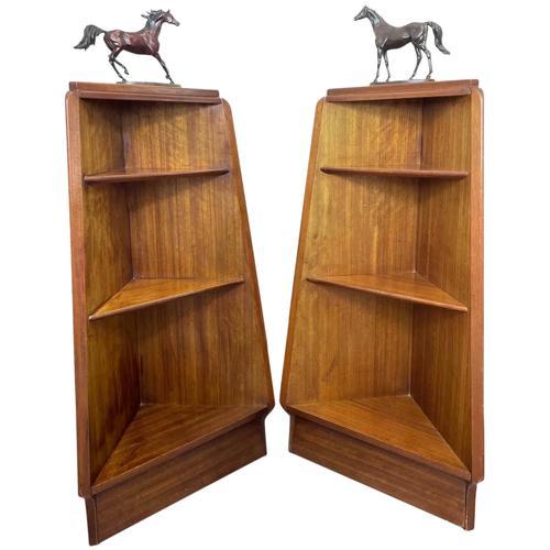 Pair of Mid Century G Plan E Gomme Pyramid Teak Open Corner Bookcases (1 of 38)