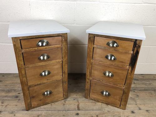 Pair of Pine Bedside Tables with Marble Tops (1 of 10)