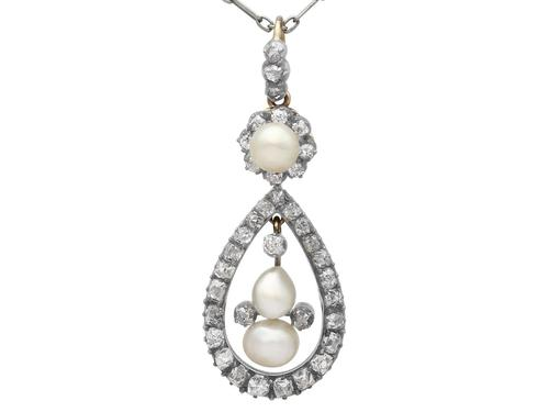 Natural Pearl & 1.42ct Diamond, 12ct Yellow Gold Pendant - Antique c.1880 (1 of 9)