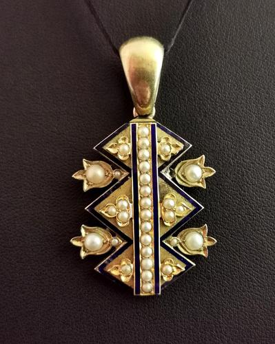 Victorian Blue Enamel & Split Pearl Pendant, 9ct Gold (1 of 12)
