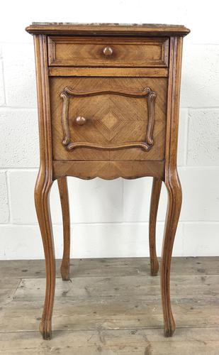 French Walnut and Marble Bedside Cupboard (1 of 9)