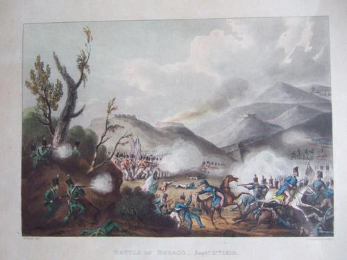 """Aquatint of the """"Battle of Busaco Sept 27th 1810"""", Pub. by James Jenkins in """"Martial Achievements of Great Britian & Her Allies 1799-1815"""" (1 of 6)"""